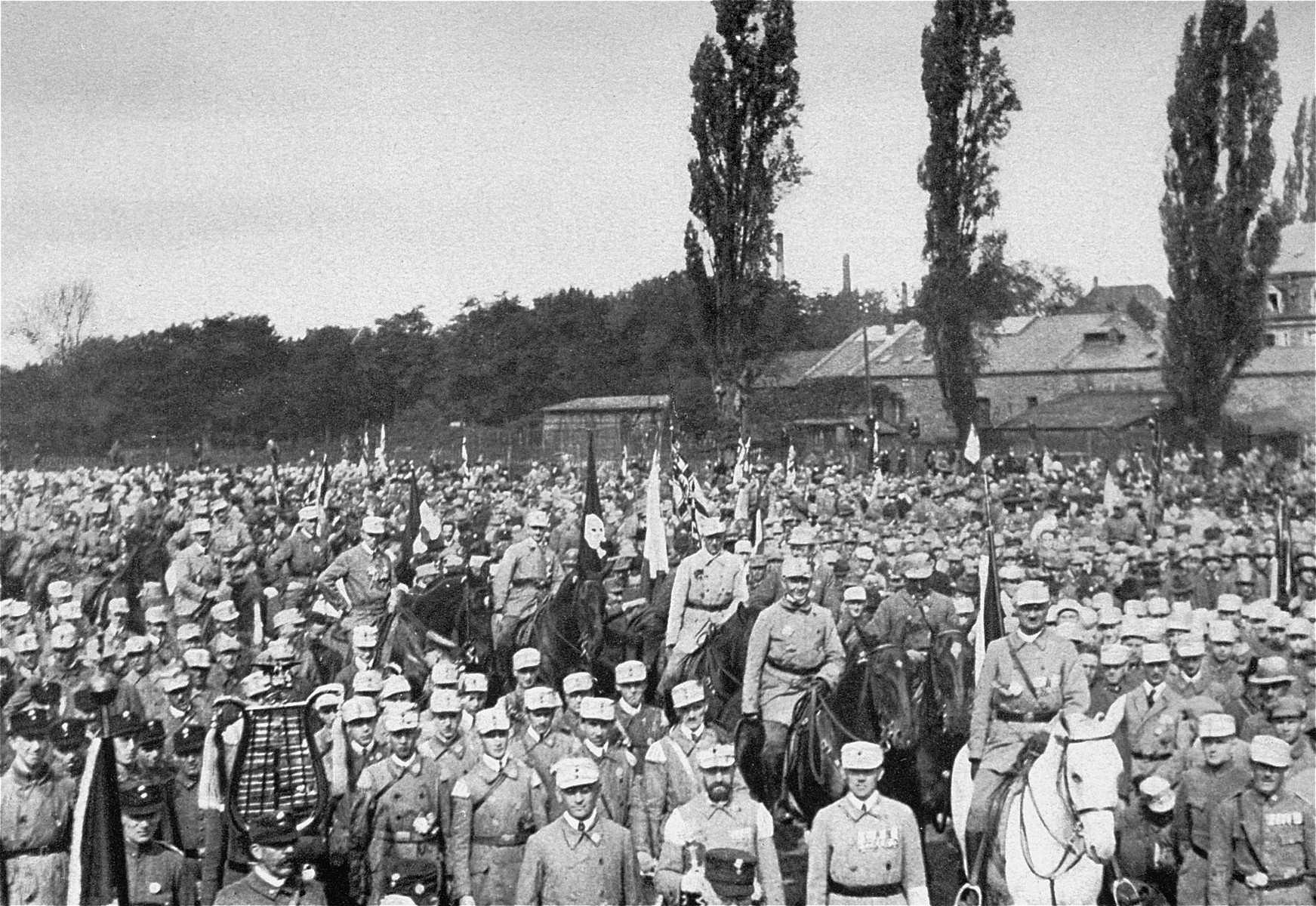 National Socialists gathered at the Deutscher Tag (German Day) rally in Nuremberg.    The Deutscher Tag rally became the official Reichsparteitag (Reich Party Day) after the Nazi seizure of power in 1933.