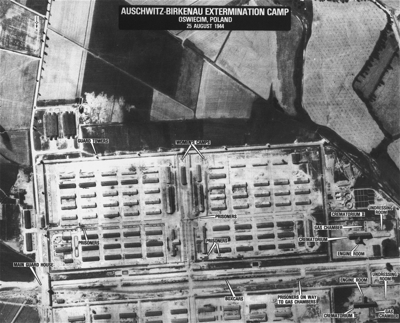 An aerial reconnaissance photograph showing Auschwitz-Birkenau.