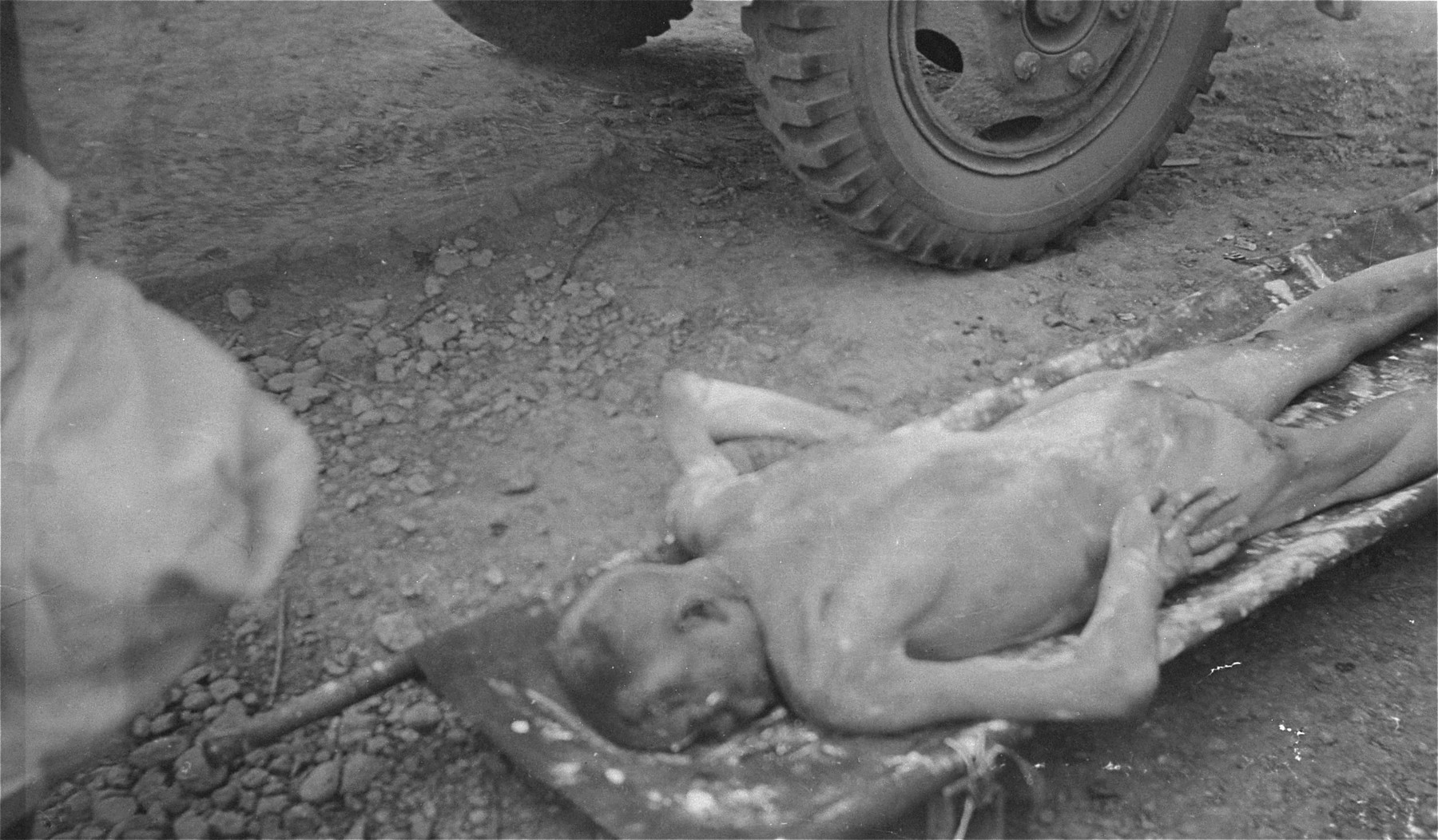 The body of a Polish slave laborer executed by the SS during the evacuation of the Ohrdruf concentration camp.