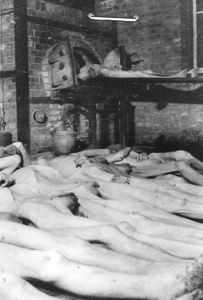 Corpses laid out for cremation in the Mauthausen concentration camp.