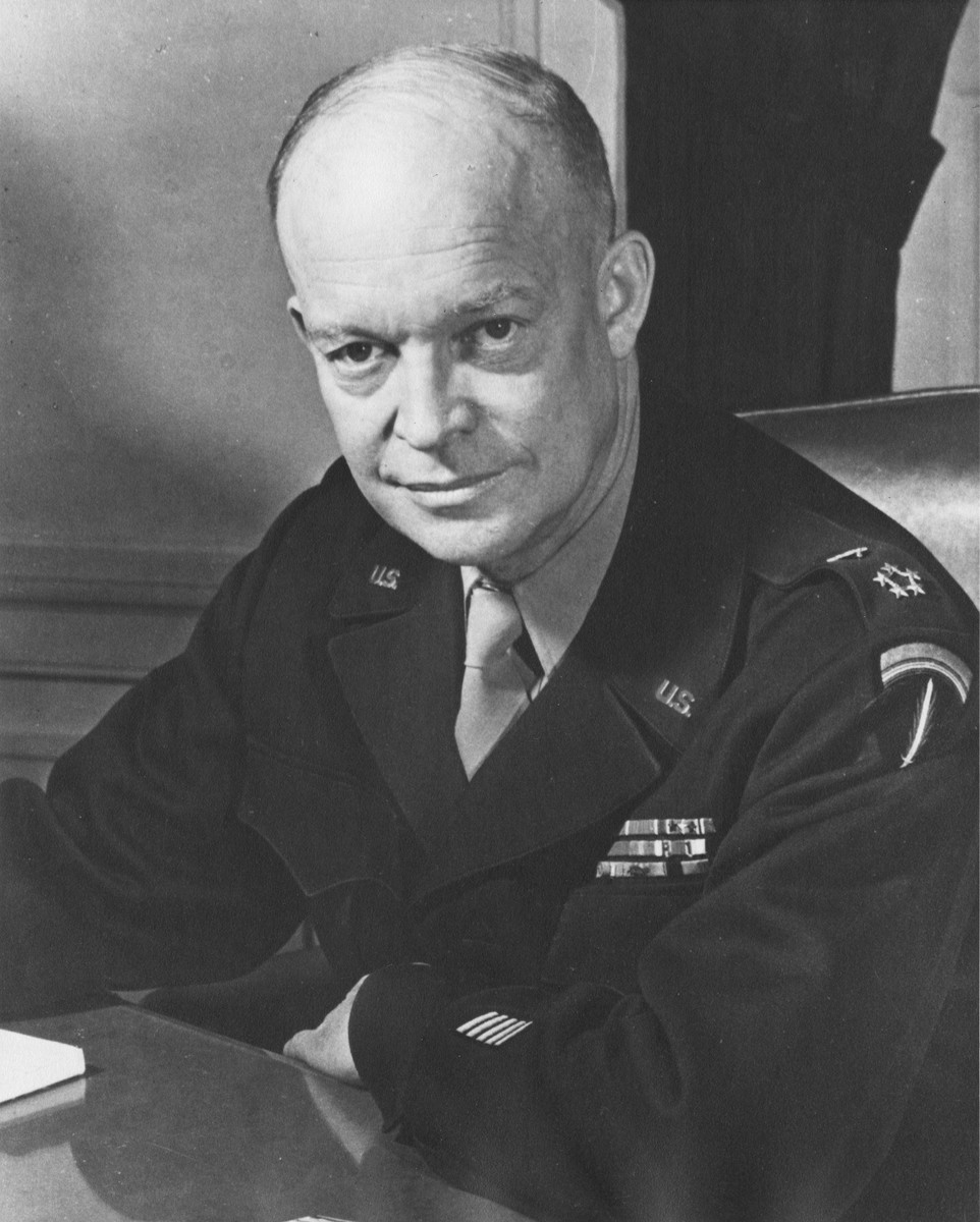 Portrait of Dwight Eisenhower, Supreme Allied Commander and five star general, at his headquarters in the European theater.