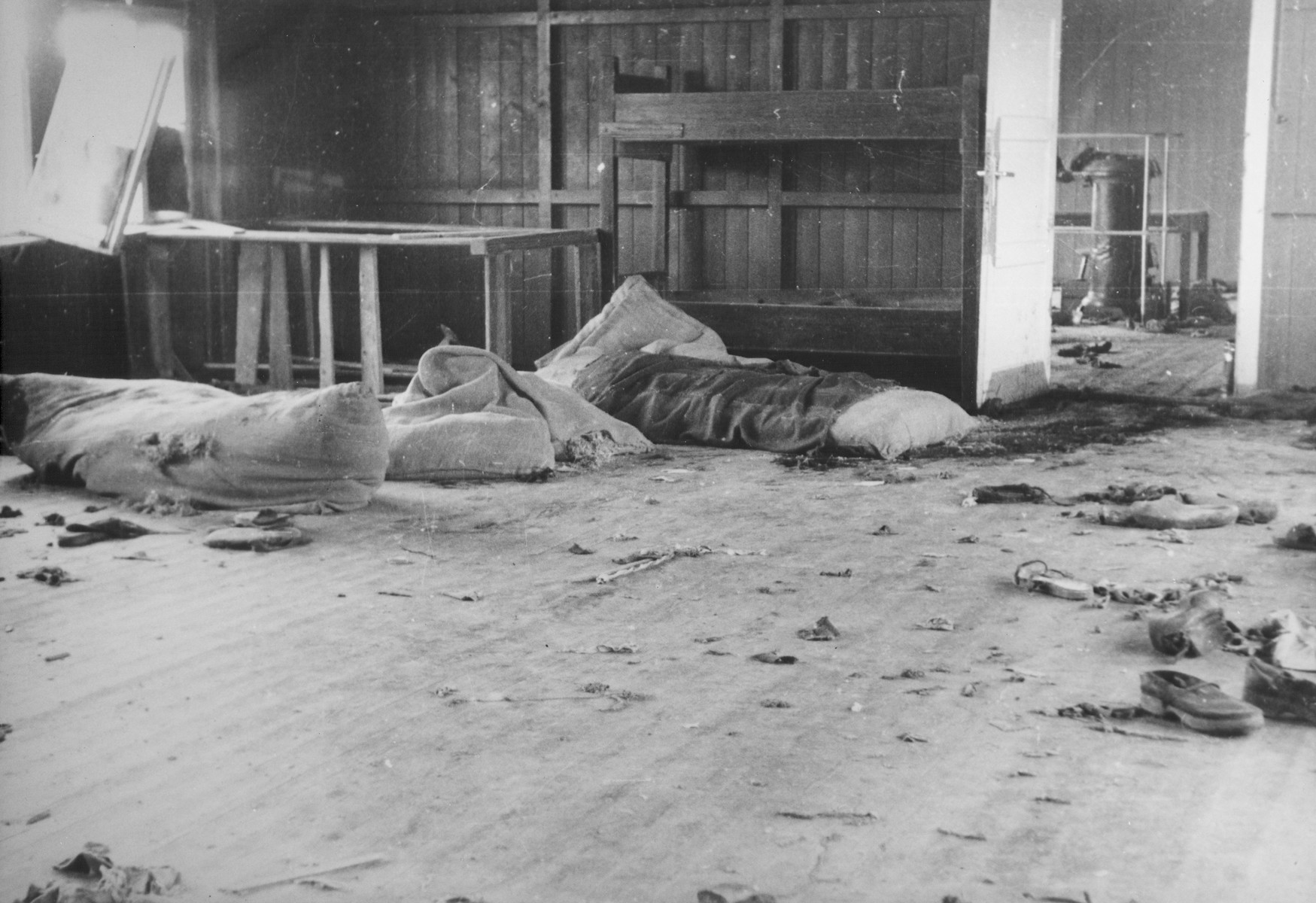 Interior view of Mauthausen Block 20 following an escape attempt by Russian prisoners.  According to the Nuremberg Trial testimony of Mauthausen survivor Francisco Boix, 700 Russian prisoners held in Block 20 attempted to escape from the camp at the end of January 1945 and meet the Red Army as it approached Yugoslavia.  Of these only 62 survived, the rest having been killed during the escape or on route to the border.