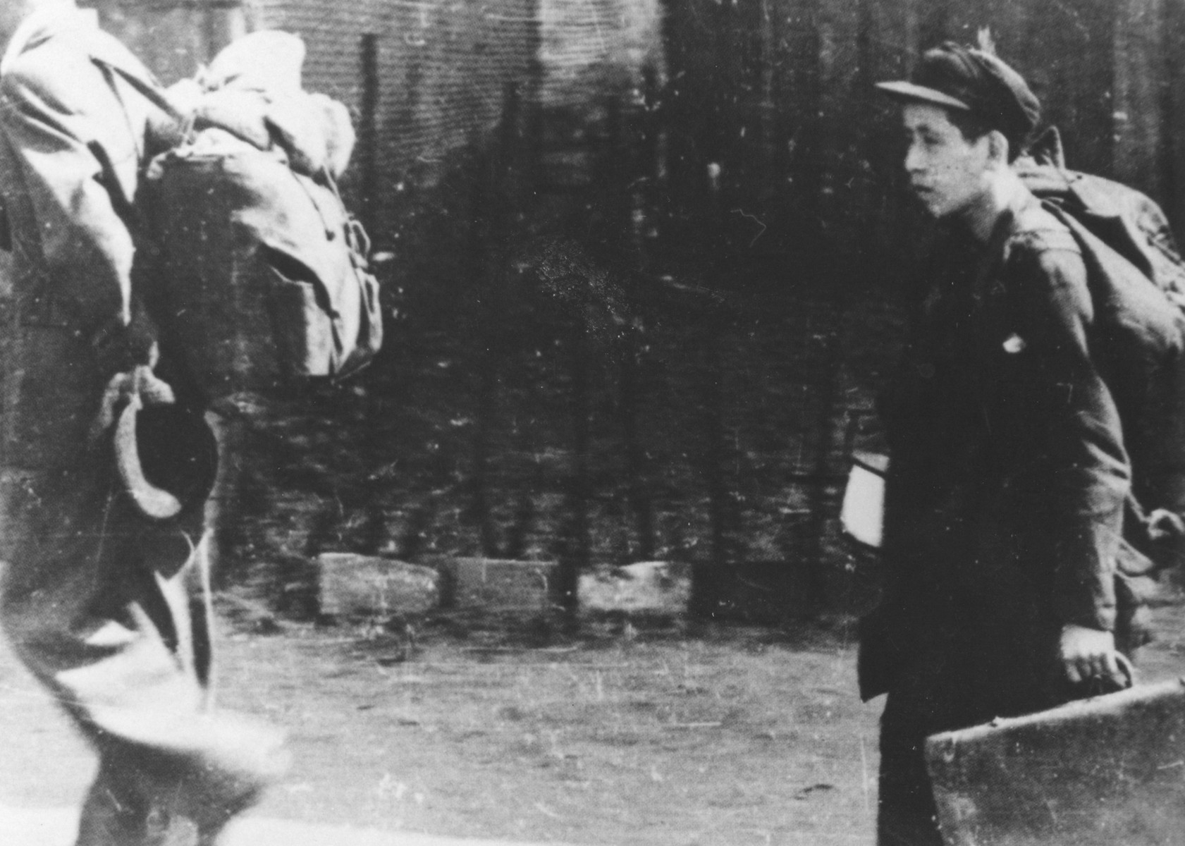 On the way to the deportation train in the Lodz ghetto.