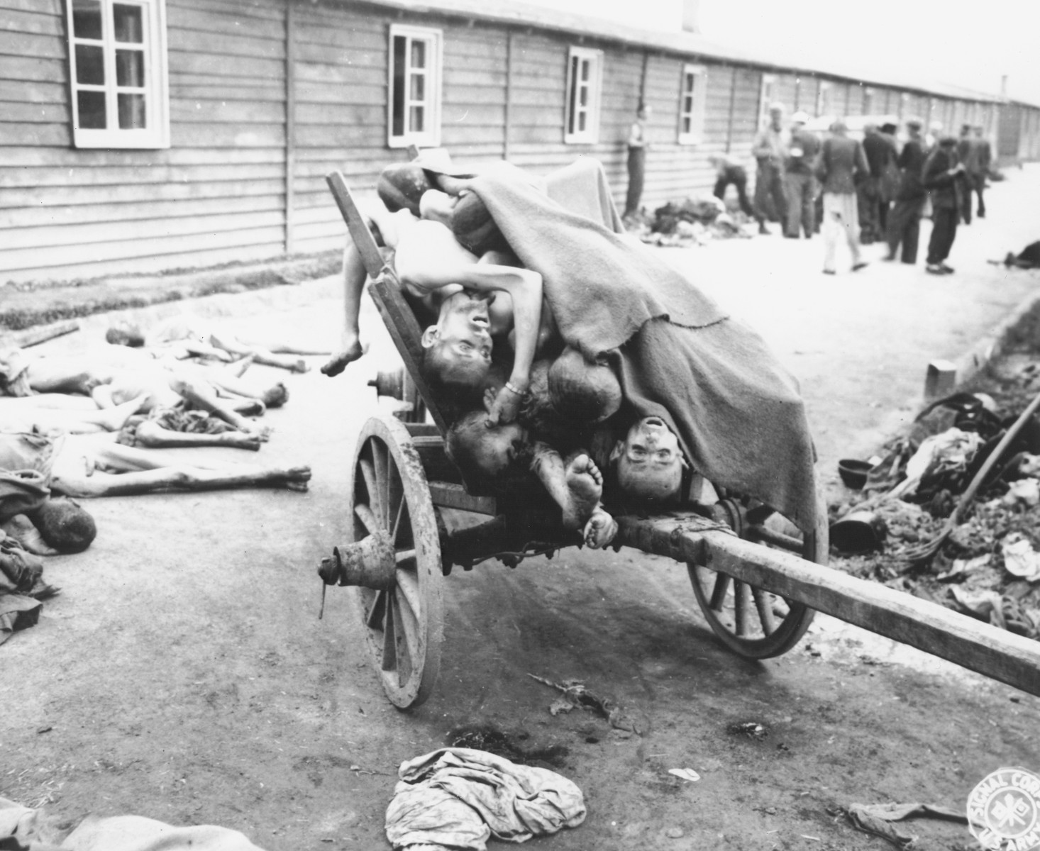Corpses are piled on a cart in the Gusen concentration camp.
