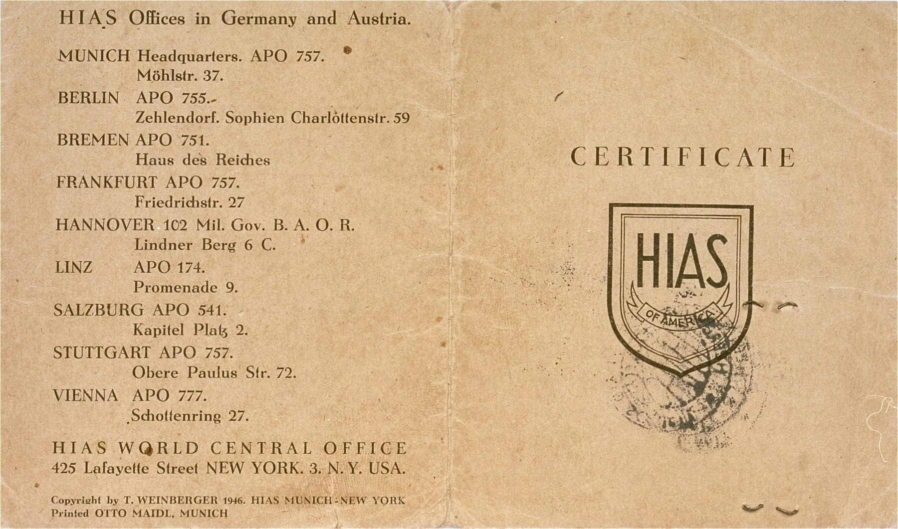 Cover of a HIAS immigration certificate issued to Manius Notowicz in Munich.  The document states that Notowicz will travel on the Marine Flasher on February 22, 1947 to New York City.