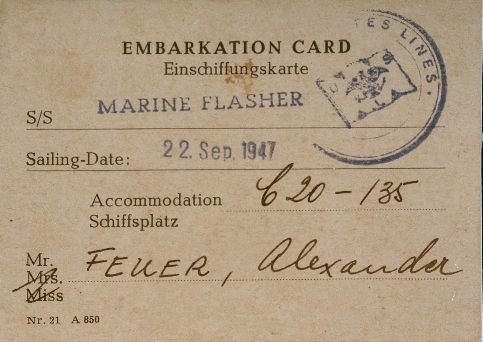 Embarkation card for the USS Marine Flasher dated Sep. 22, 1947 issued to Alexander Feuer, indicating his place on the ship.