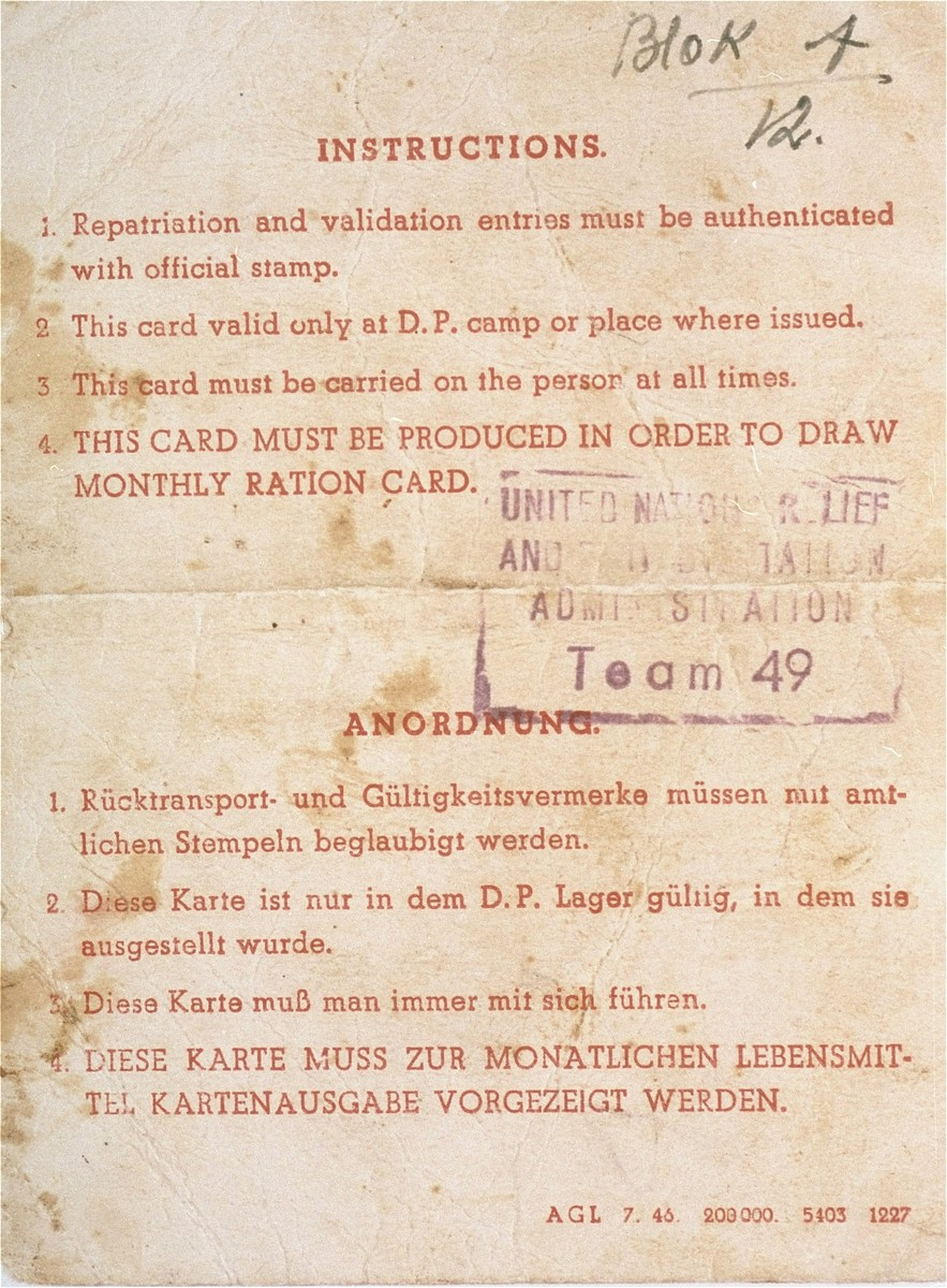 Verso of a DP identification card issued to Manius Notowicz.