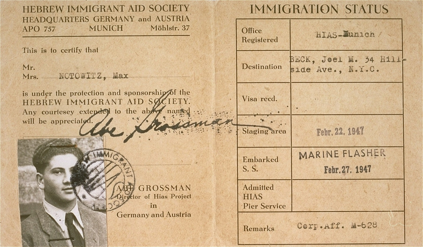 HIAS immigration certificate issued to Manius Notowicz in Munich.  The document states that Notowicz will travel on the Marine Flasher on February 22, 1947 to New York City.