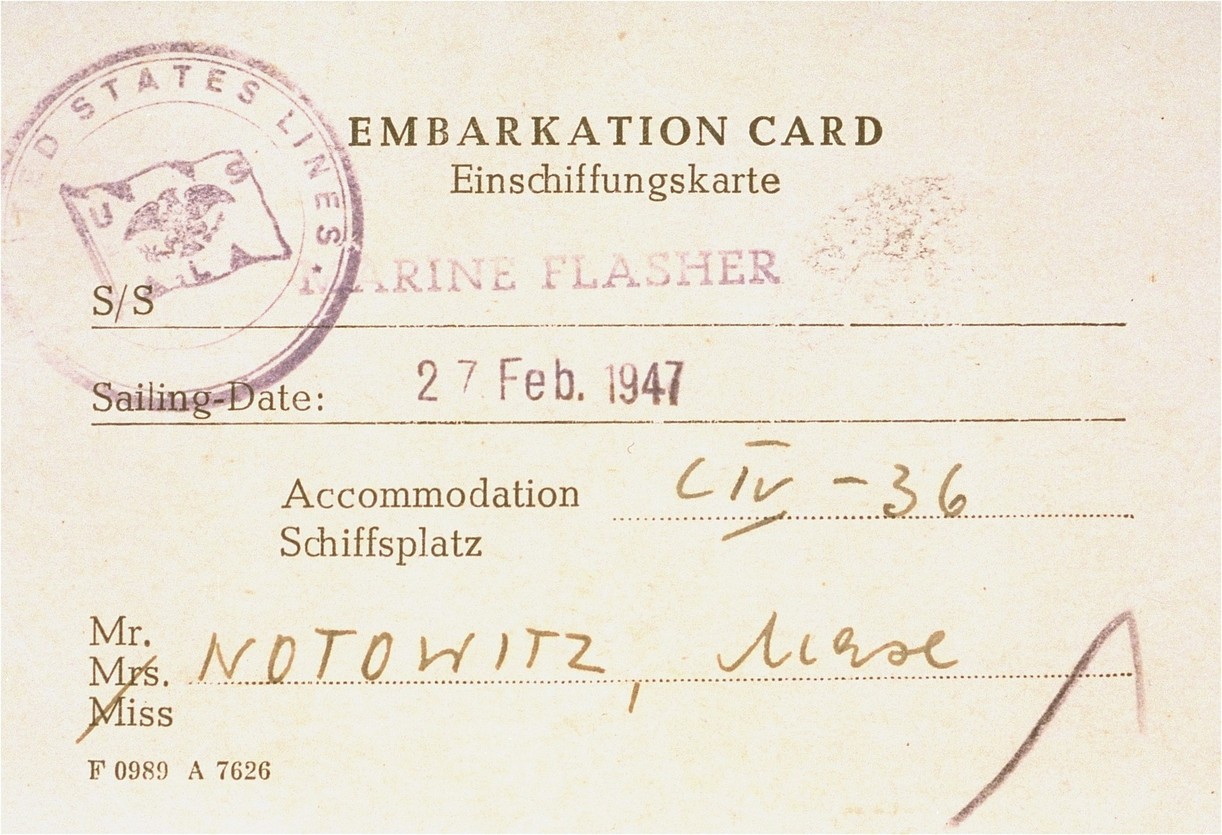 Boarding pass issued to Manius Notowicz for travel on the Marine Flasher to New York.