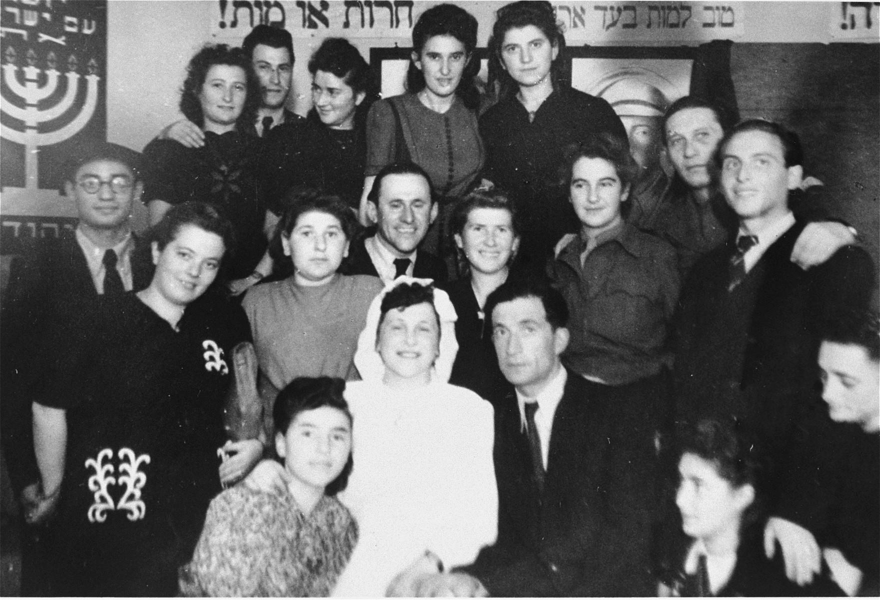 A wedding celebration in the Bergen-Belsen DP camp.