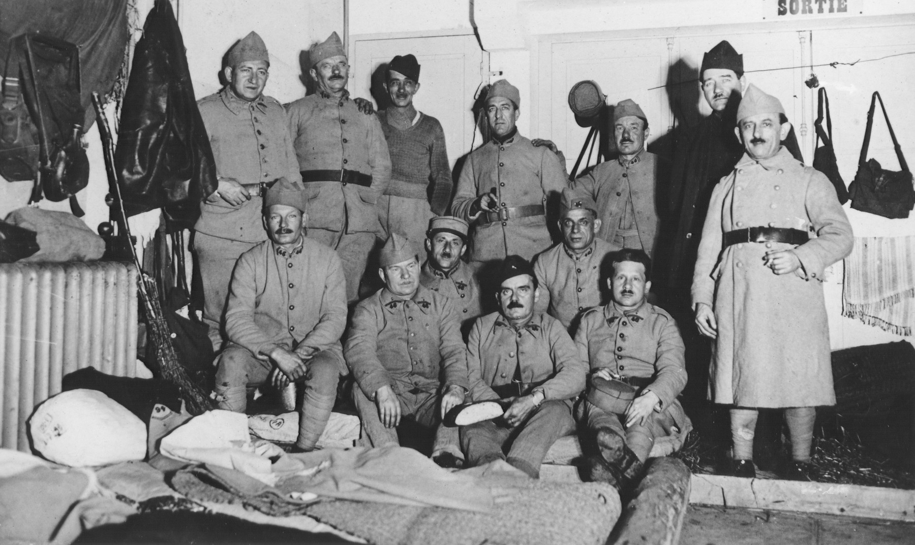 A French army brigade poses inside its barracks.  Pictured in the second row, center is Mr. Frenkel.