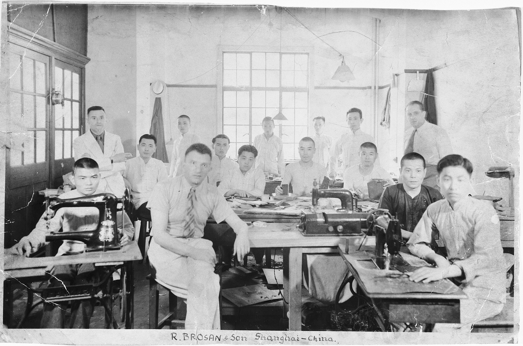 Employees of Rudolf Brosan's leather workshop in Shanghai.