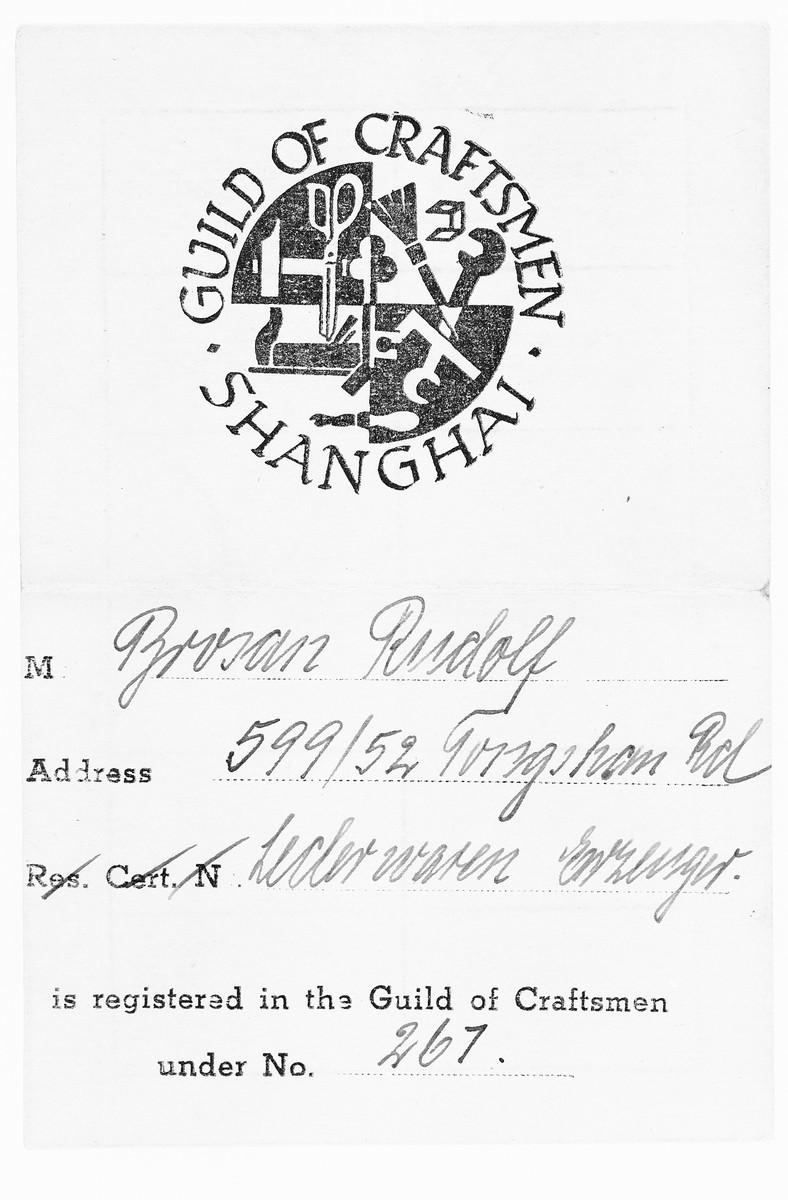 Rudolf Brosan's membership certificate in the Shanghai Guild of Craftsmen.