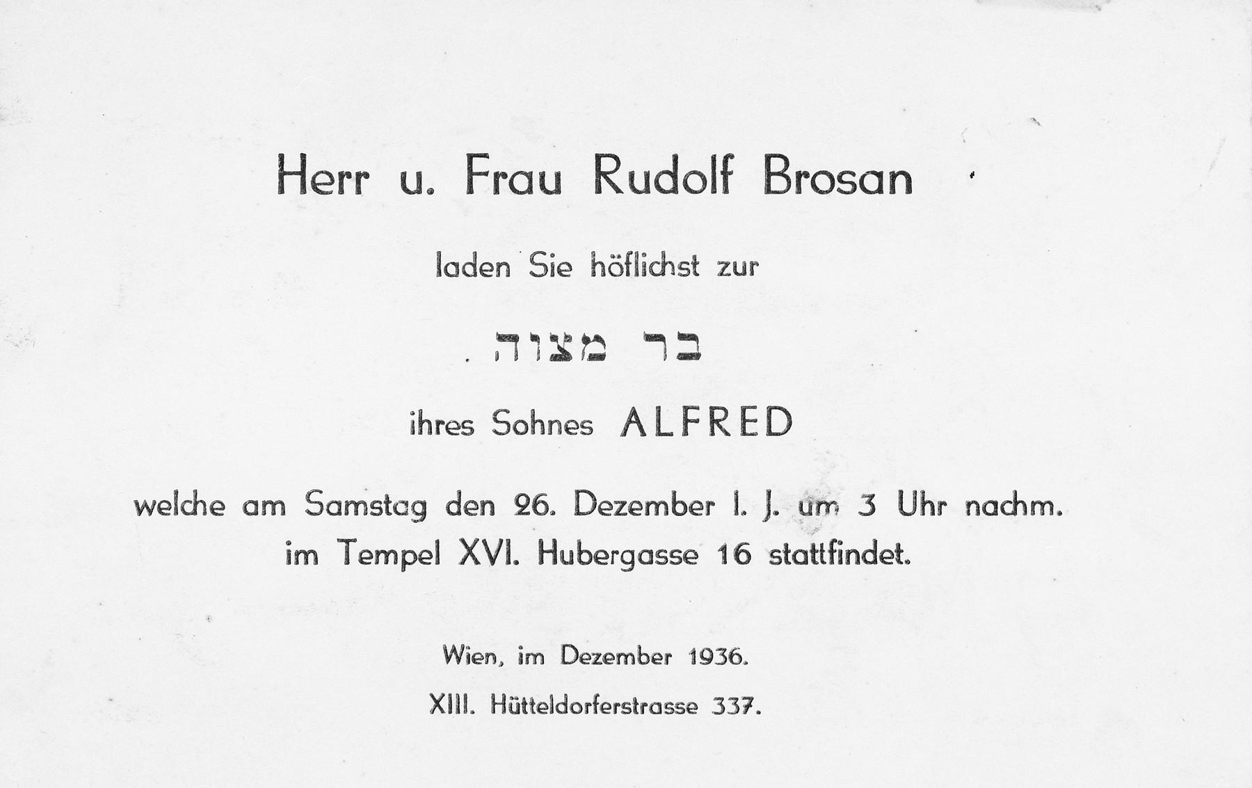 Invitation to the bar mitzvah of Alfred Brosan in Vienna, Austria.
