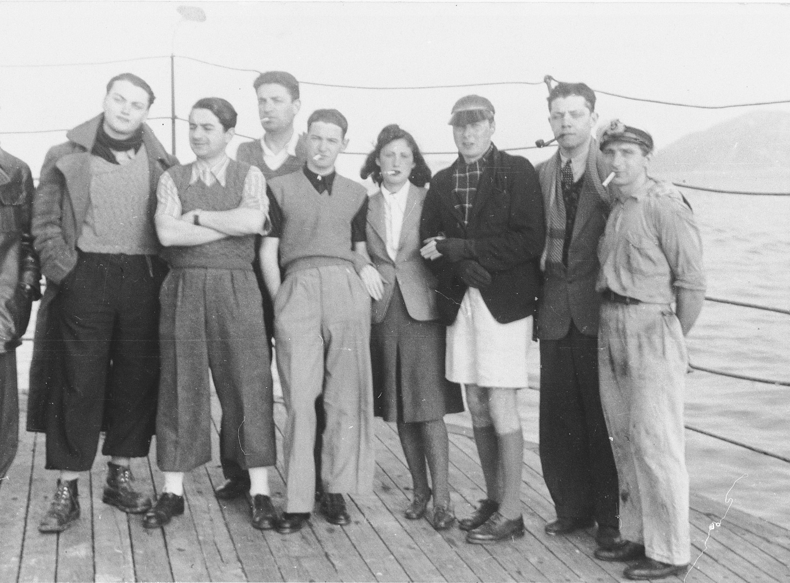 Passengers on board the SS Hamra sail from Romania to Palestine.  Among those pictured is Ella Feuerwerk (fourth from the right).