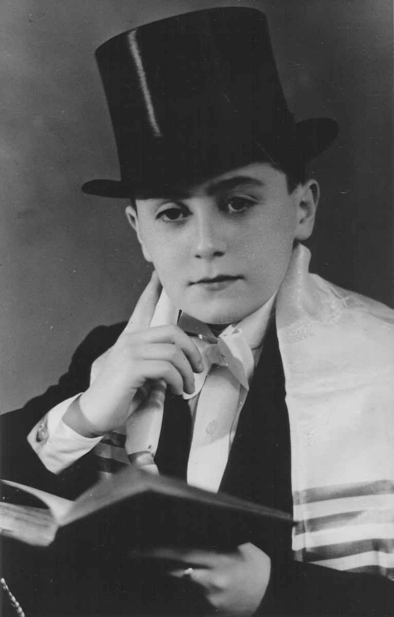Studio portrait of Samuel (Meir Shlomo) Rozenmuter taken on the occasion of his bar mitzvah.
