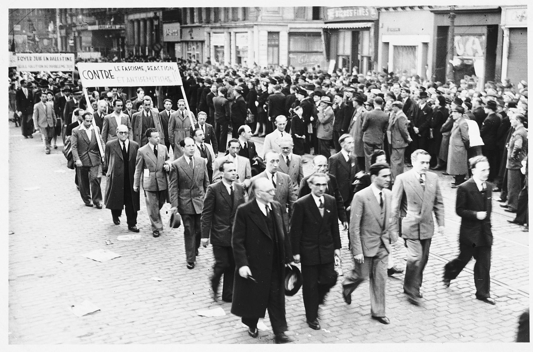 A postwar pro-Zionist demonstration in Belgium.