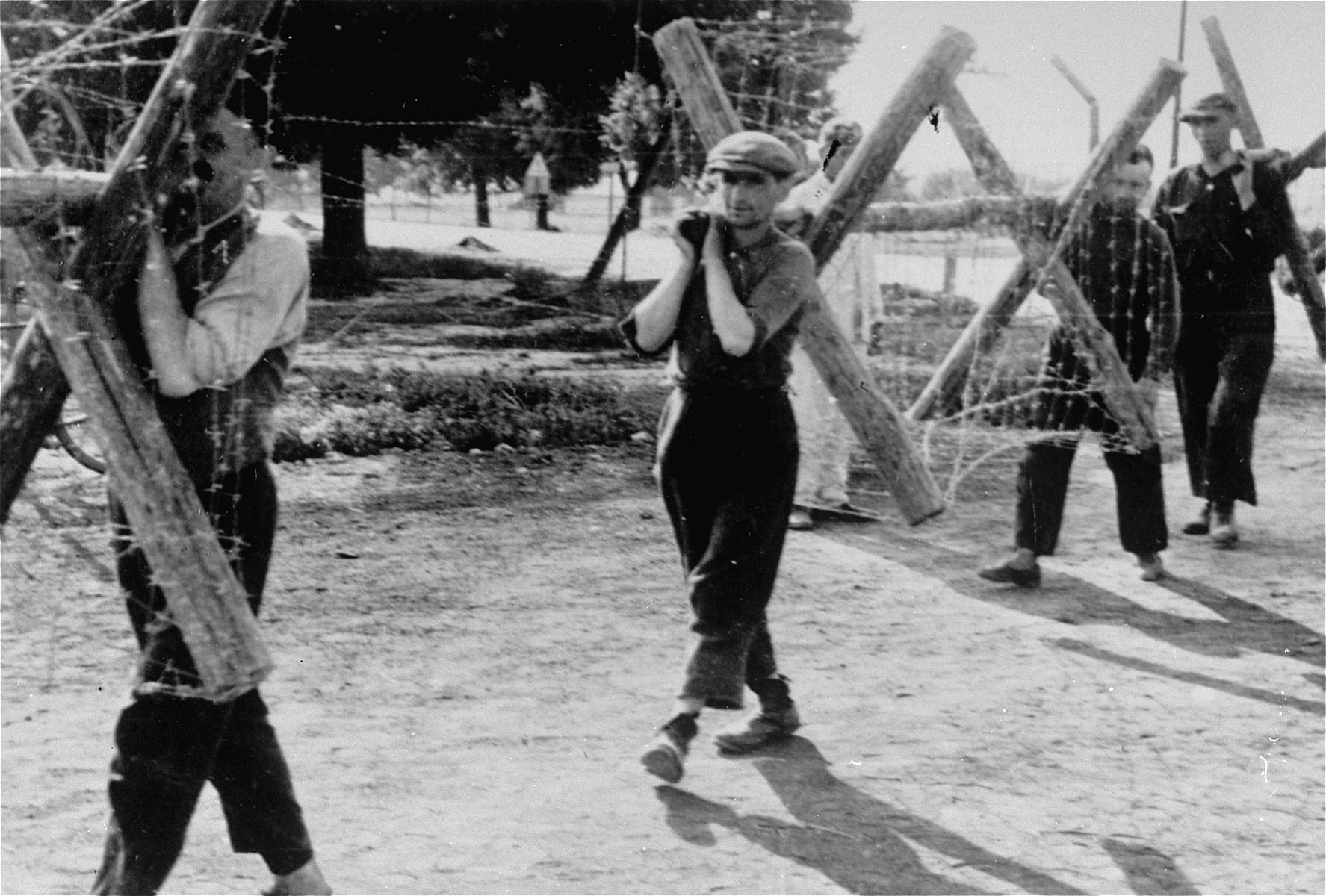 Jewish men at forced labor carrying sections of barbed wire fencing along a road in Konskowola.