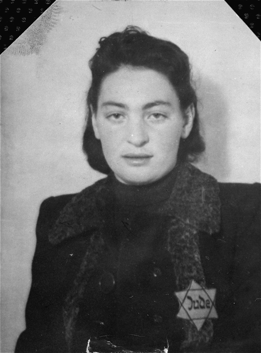 Portrait of Rose Grinbaum, wearing a Jewish badge in the Olkusz ghetto.