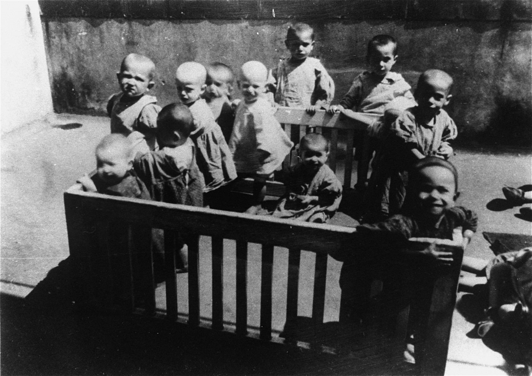 Jewish toddlers play outside in a large playpen in the courtyard of an orphanage in the Leszniow ghetto.