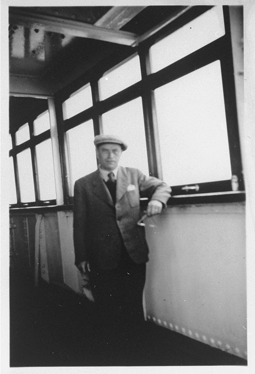A passengers poses on the refugee ship MS St. Louis.    From a photo album belonging to St. Louis passenger Moritz Schoenberger.