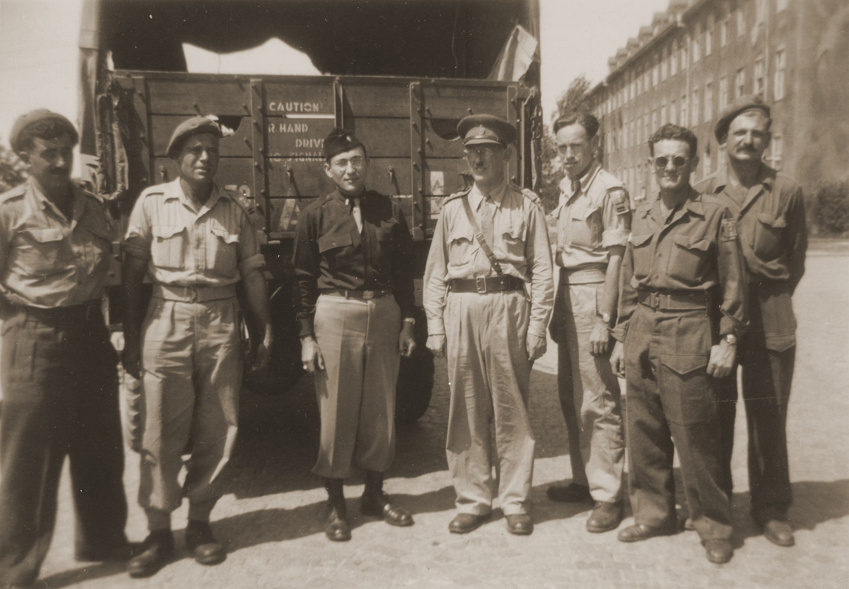 Members of the Jewish Brigade on an official visit to a DP camp in Germany.  The donor, Joe Friedman, worked with Jewish Brigade soldiers in clandestine operations smuggling Jewish DPs posing as German nationals into the American occupation zones.