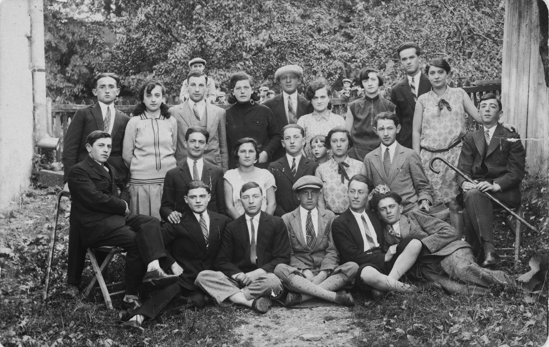 Group portrait of Jewish youth in Rymanow, Poland.