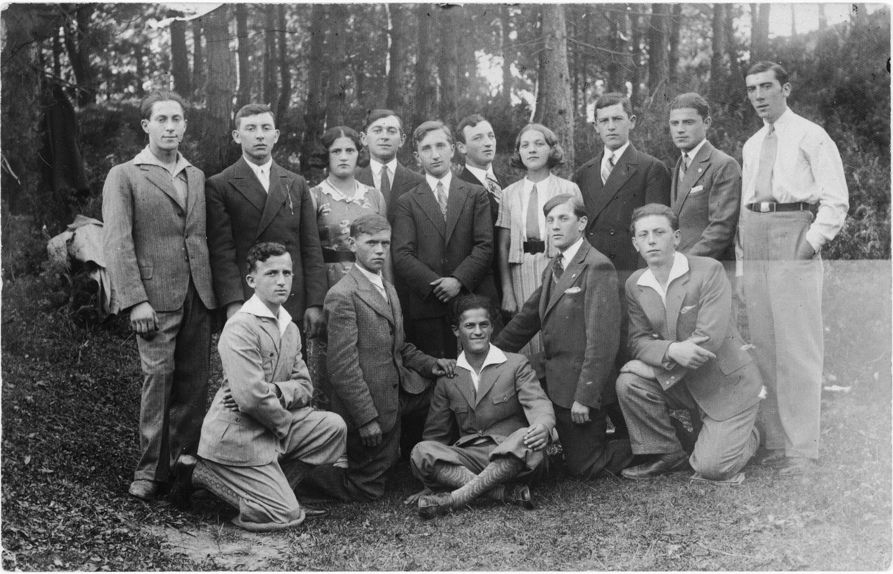Group portrait of Jewish youth in Rymanow, Poland.
