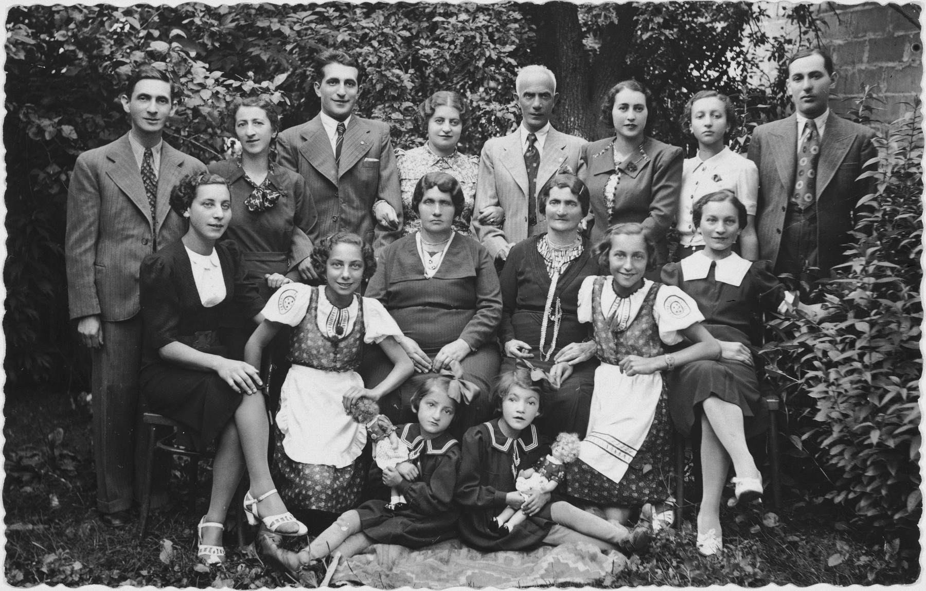 Group portrait of an extended Jewish family in Rymanow, Poland.