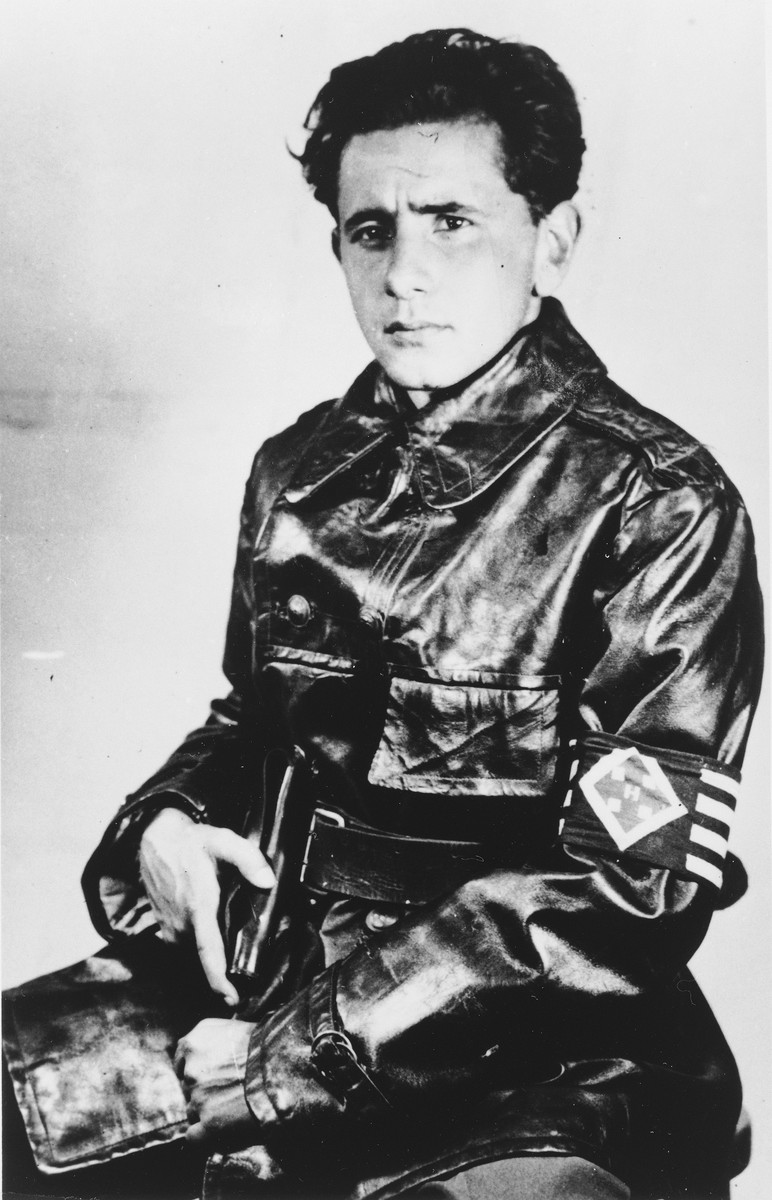 Portrait of an Hungarian Jew dressed in the uniform of the Arrow Cross.  Pictured is Endre David Gur-Grosz.