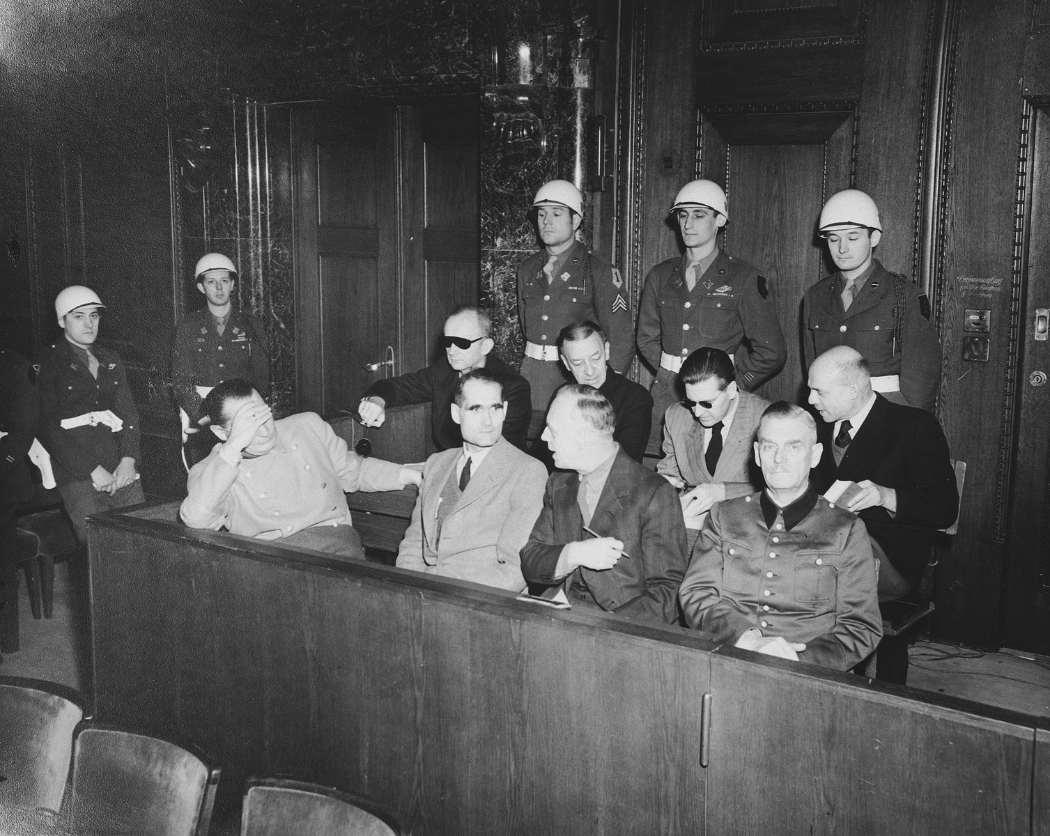 The defendants in the dock at the International Military Tribunal trial of war criminals at Nuremberg.