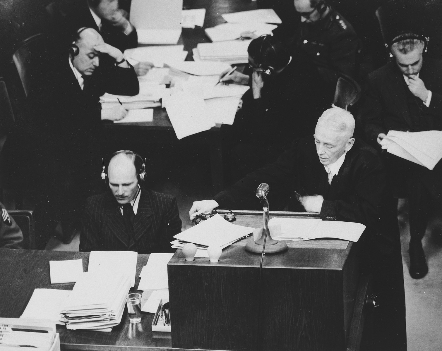 One of the prosecutors speaks at a session of the International Military Tribunal in Nuremberg.