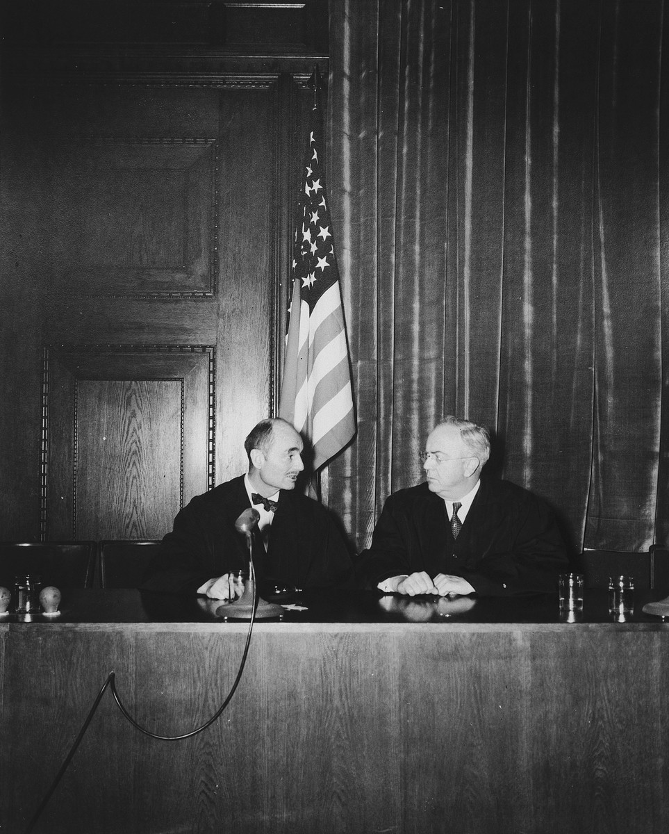 Portrait of the two American judges on the International Military Tribunal in Nuremberg.  Pictured at the left is Francis Biddle and, at the right, John J. Parker.