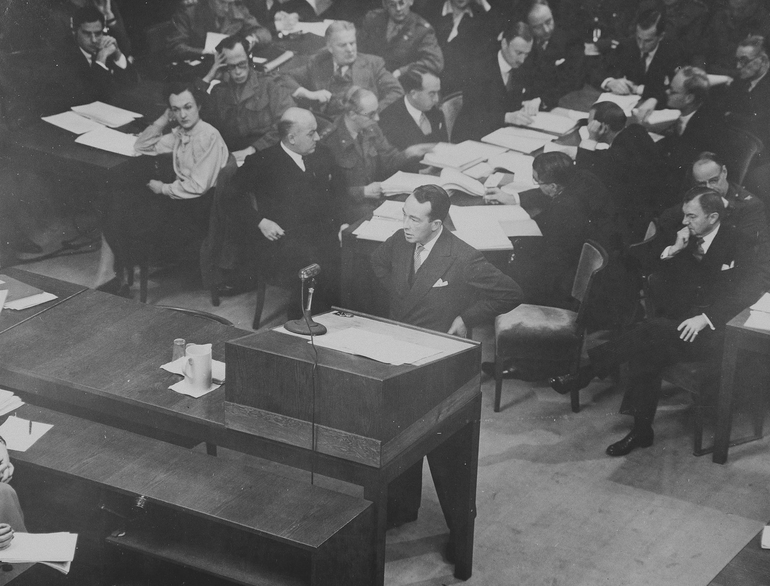 American prosecutor Colonel Telford Taylor speaks at the International Military Tribunal trial of war criminals at Nuremberg.