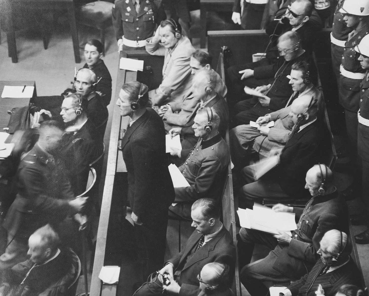 """Defendant Ernst Kaltenbrunner pleads """"not guilty"""" to the charges against him at the International Military Tribunal trial of war criminals at Nuremberg.  Kaltenbrunner had been sick and therefore did not enter a plea until the fourth week of the trial."""