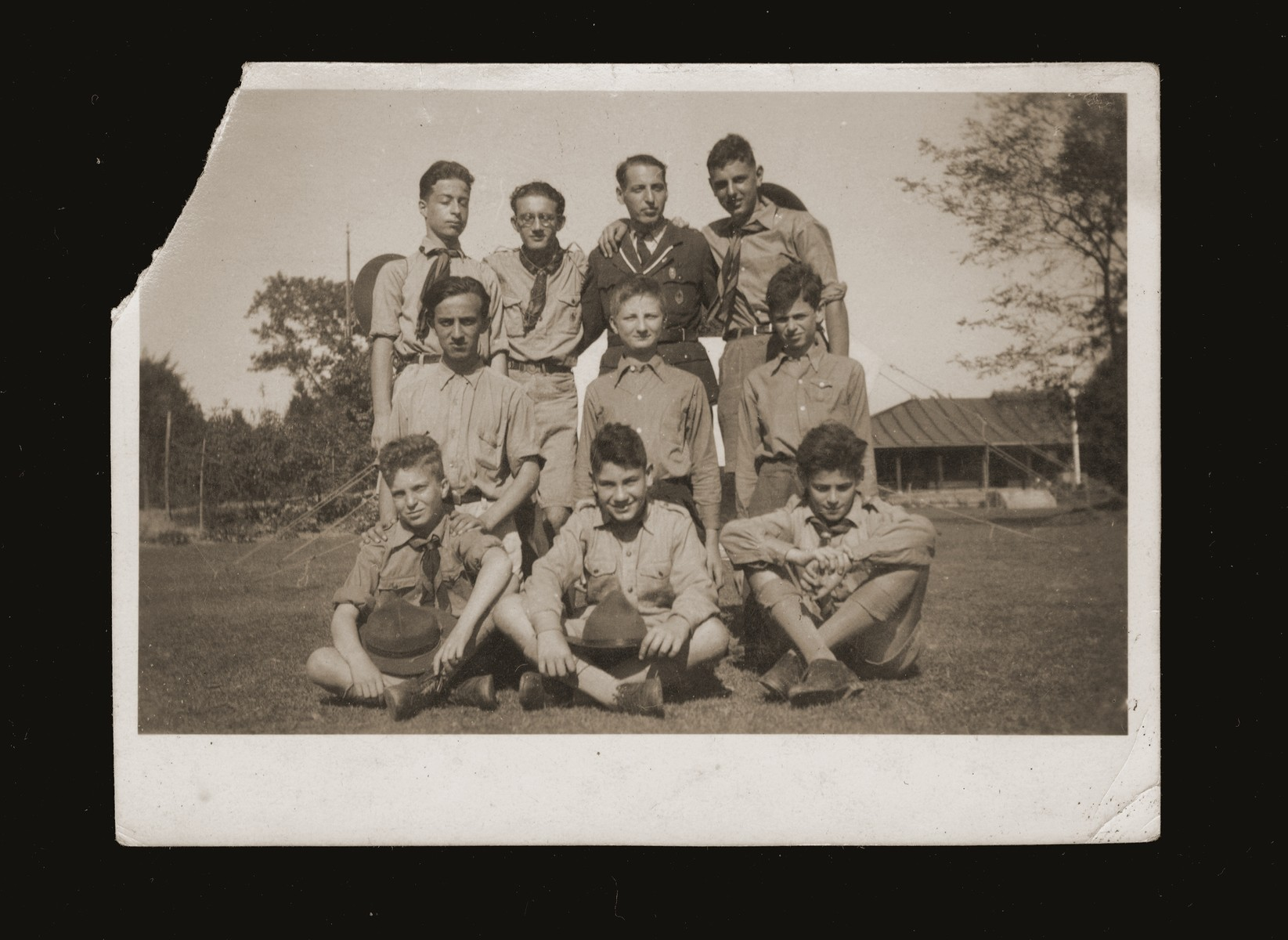 Group portrait of Jewish boy scouts in Shanghai.