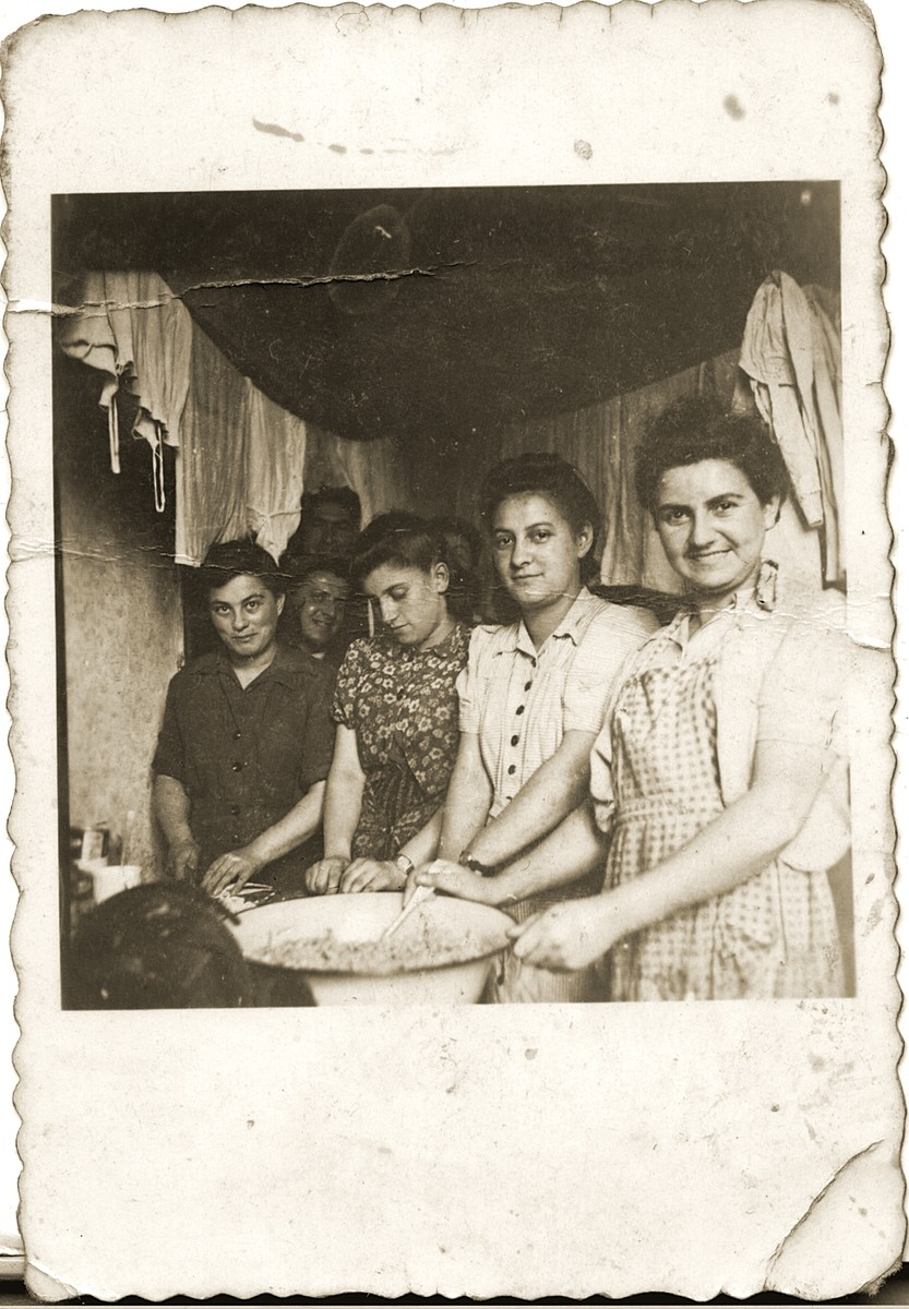 A group of women work in the kitchen of Kibbutz Magshimim.  Esther Urman is pictured on the far right.