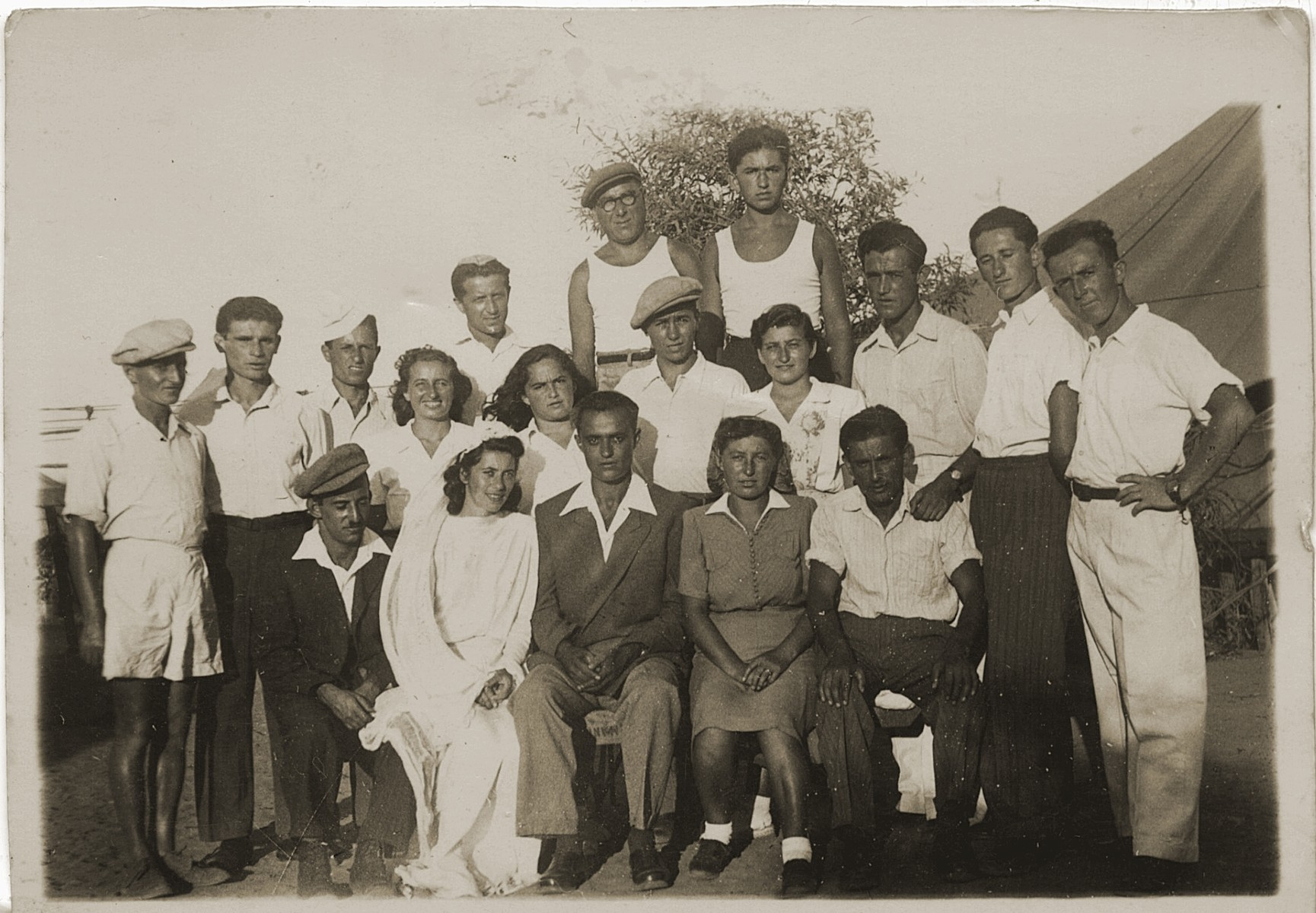 Wedding portrait in the Cyprus detention camp.