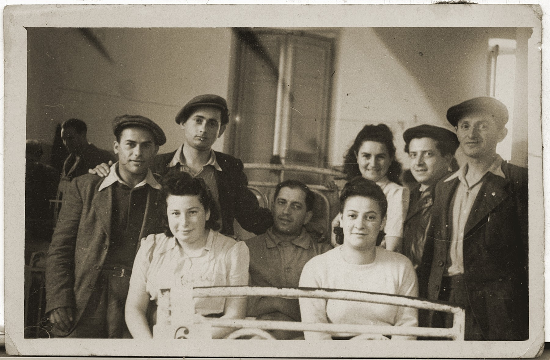 Members of Kibbutz Magshimim visit a friend in the hospital.  Yehiel Hershkowitz is second from the right.  Esther Urman is third from the right.