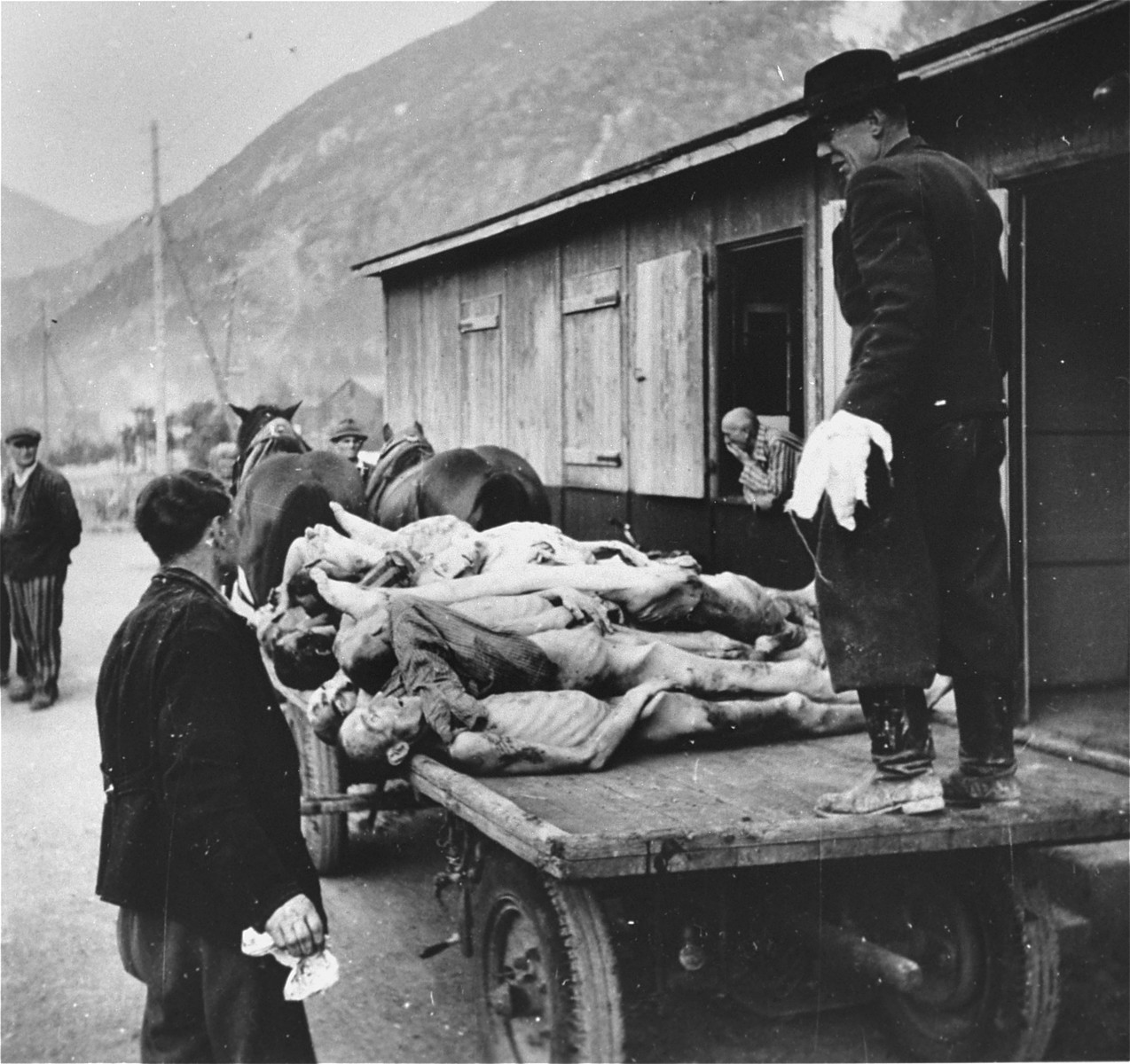 Austrian civilians stack the bodies of Ebensee prisoners onto carts for transportation to a nearby burial site.