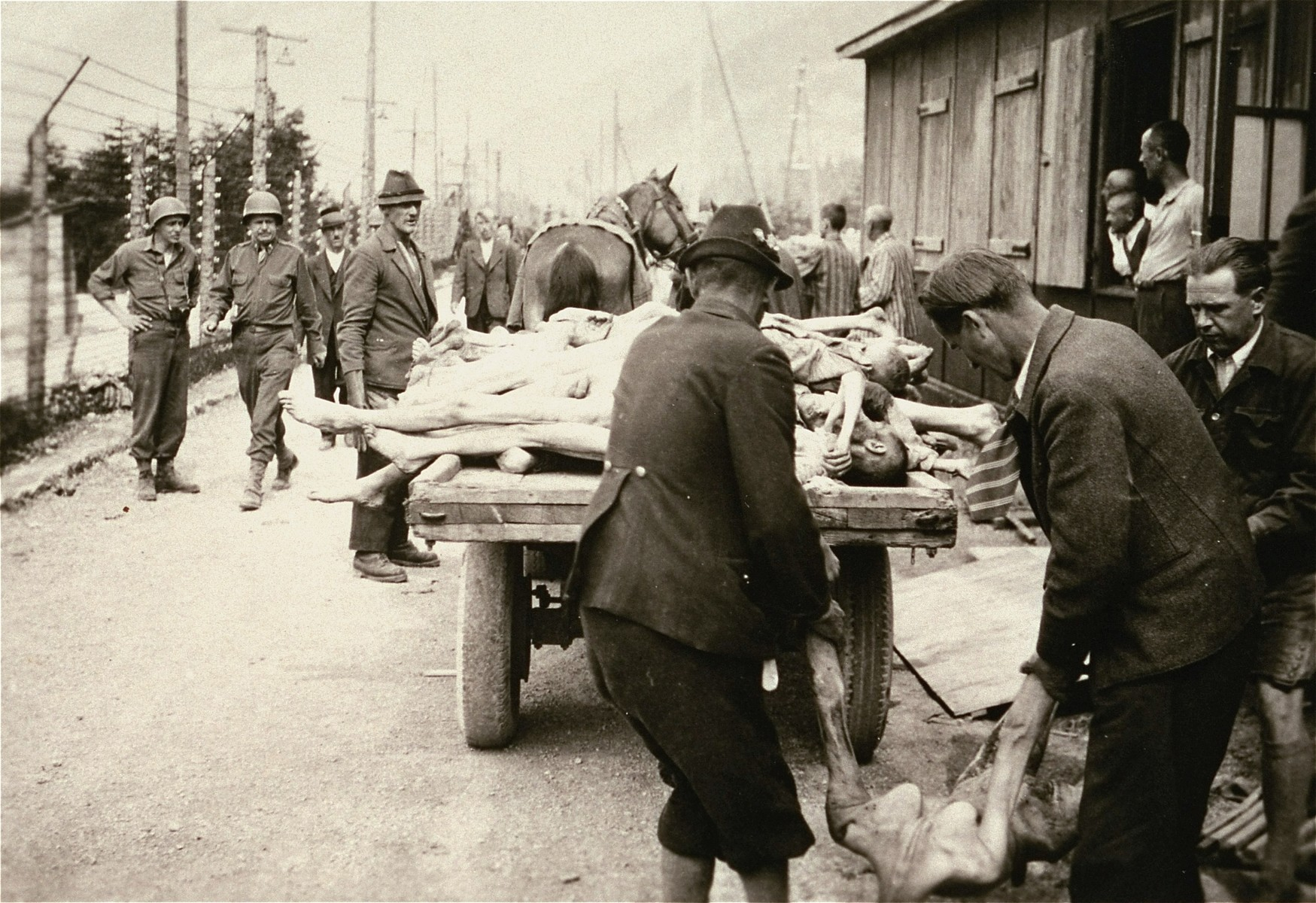 Austrian civilians participate in clearing the dead in the Ebensee concentration camp.  The barracks in the background was found filled with corpses.