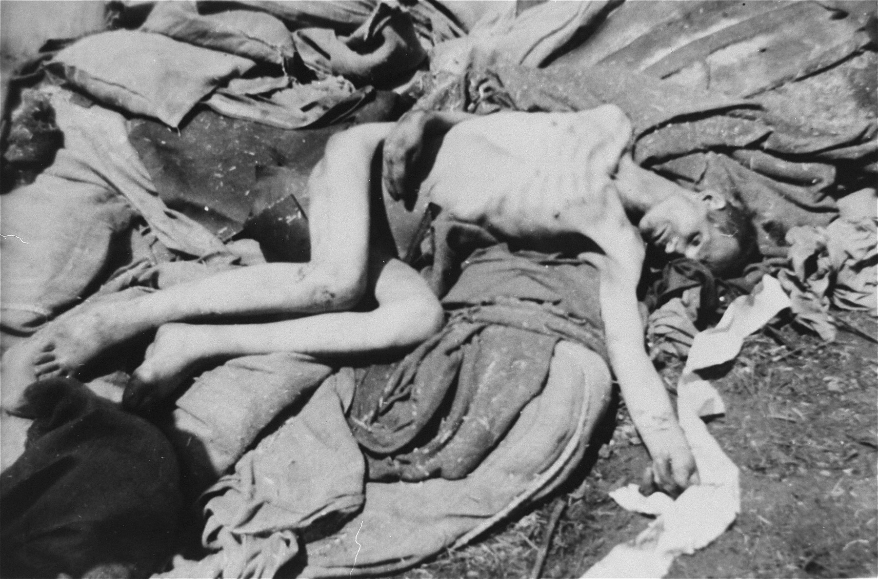 A corpse in Ebensee after liberation.