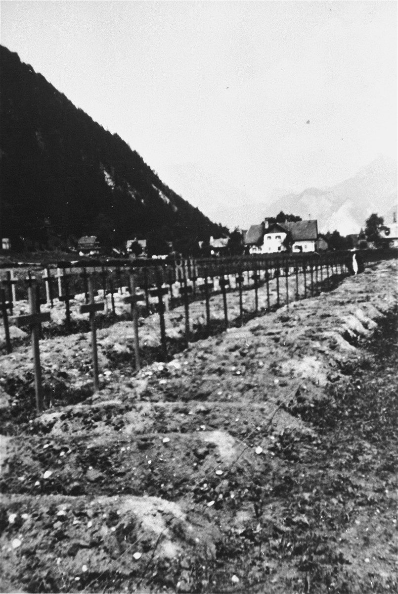 View of newly dug graves of prisoners who died in the Ebensee concentration camp.    These were dug by Austrian civilians.