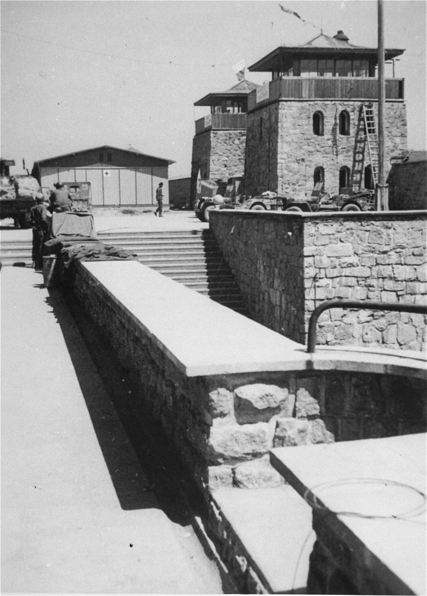 View of the main gate at the Mauthausen concentration camp.