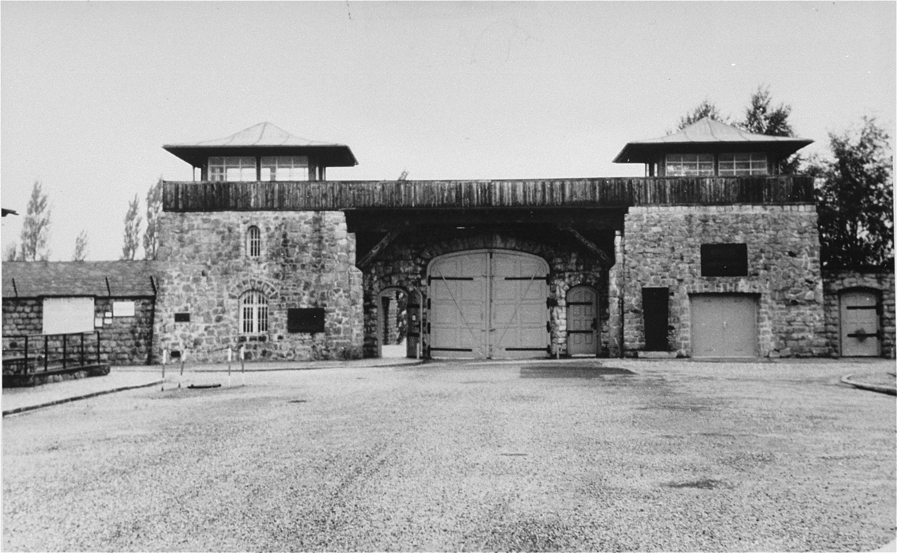View of the main gate to the Mauthausen concentration camp.