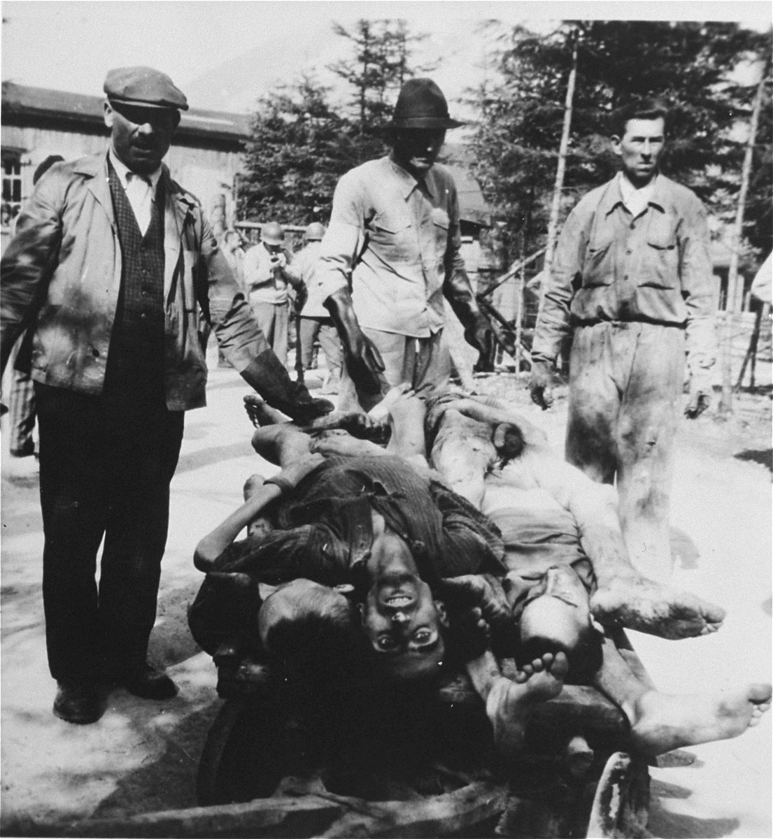 Austrian civilians remove corpses from the Ebensee concentration camp to a nearby site for burial.