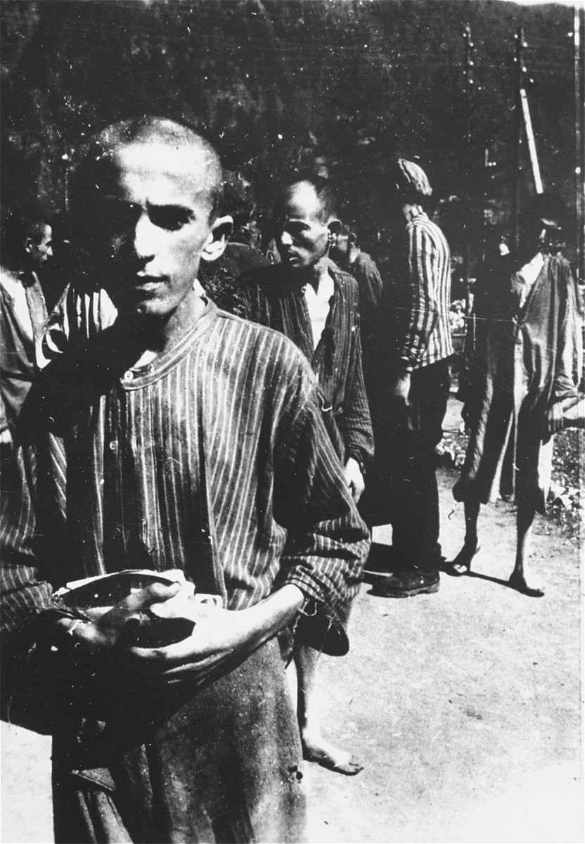 Close-up of a survivor in the Ebensee concentration camp.