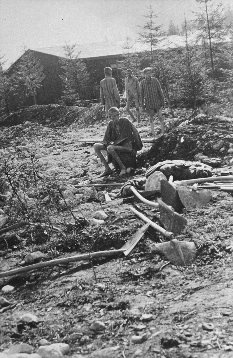 Survivors in the hospital compound in Ebensee.