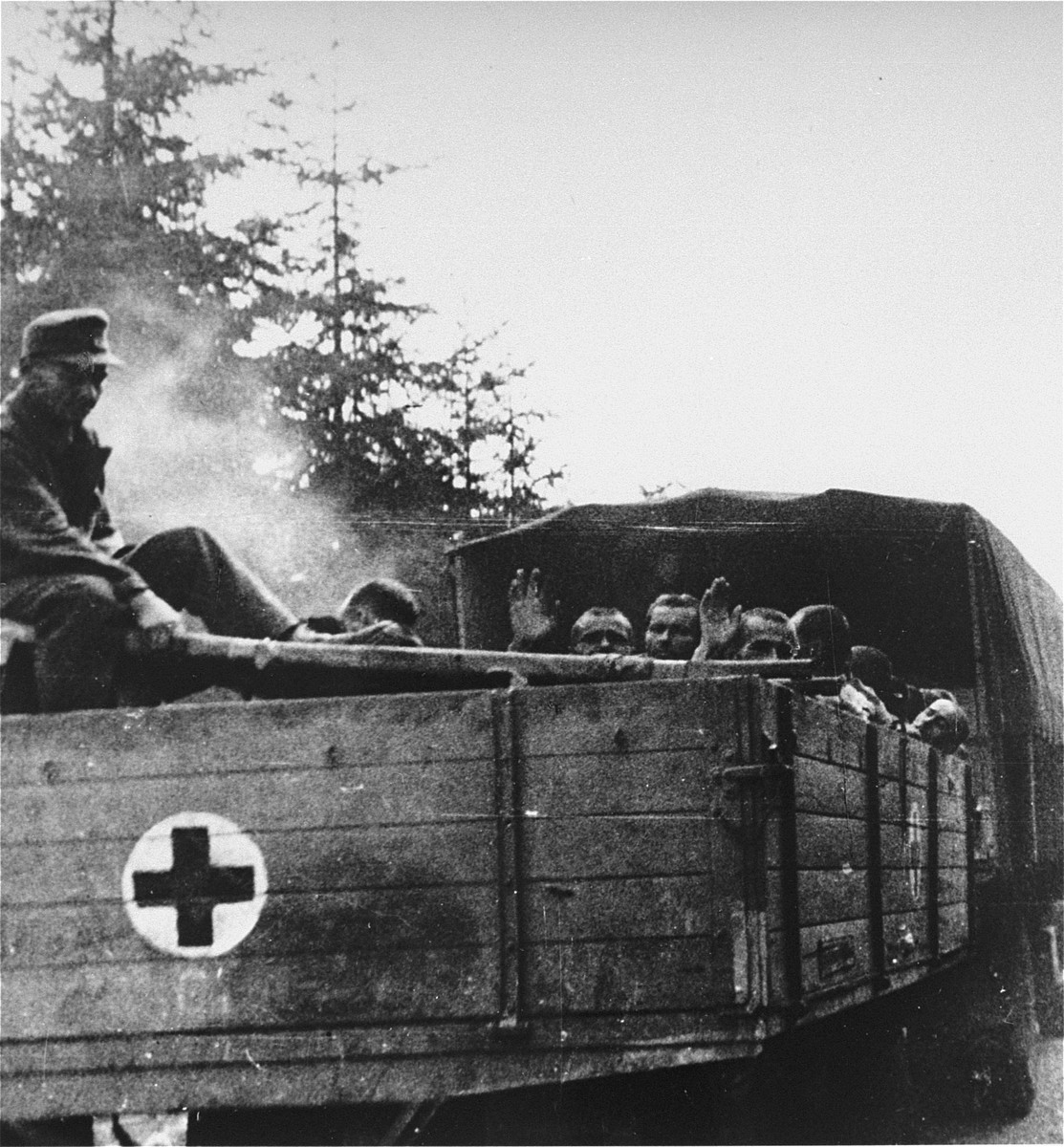 Survivors from Ebensee are evacuated to the 139th Evacuation Hospital for medical treatment.
