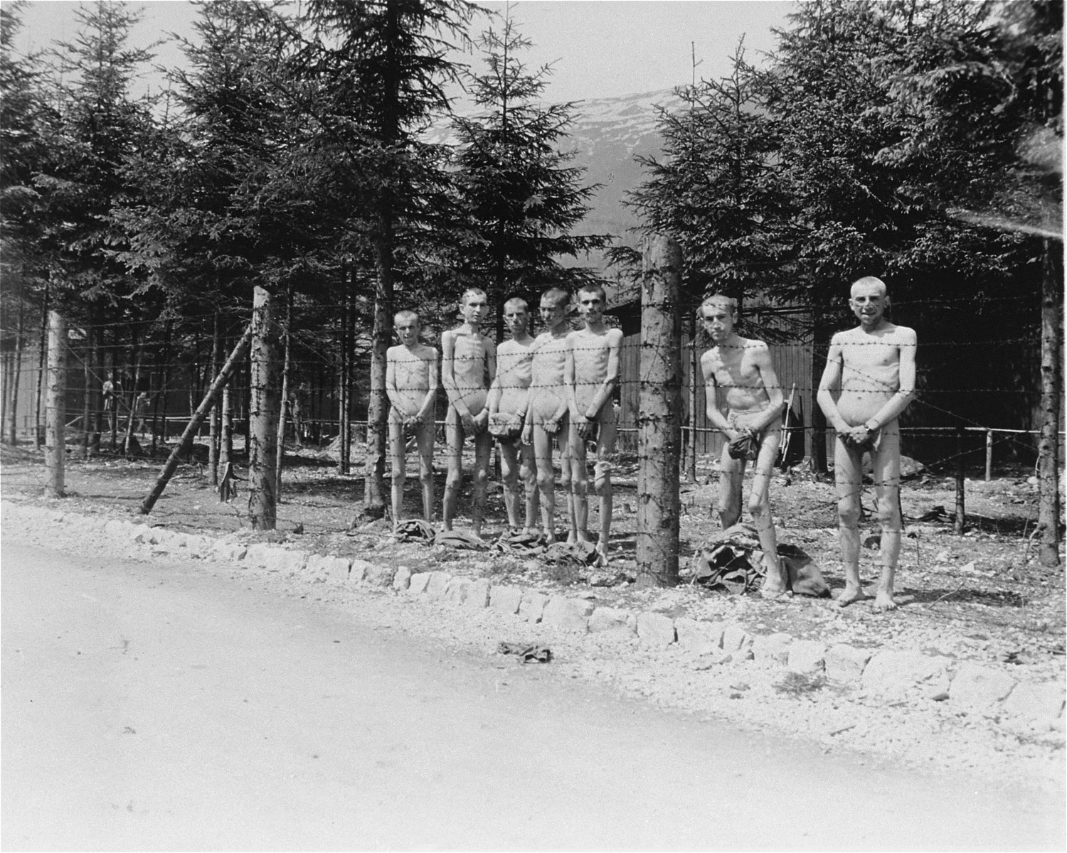 Seven emaciated survivors stand naked behind the barbed wire enclosure of the hospital compound in Ebensee.